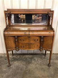 Antique Tiger Oak Buffet With Mirror Back