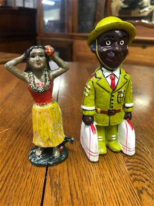 TWO CAST IRON FIGURAL BANKS