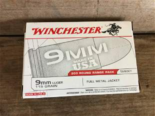 200 ROUNDS WINCHESTER 9MM 115 GR. FMJ
