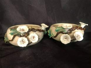 """PAIR OF POTTERY BOWLS WITH FLOWERS (8-10"""")"""