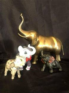 """ELEPHANT COLLECTION INCLUDING LARGE BRASS (15"""") PEARL,"""