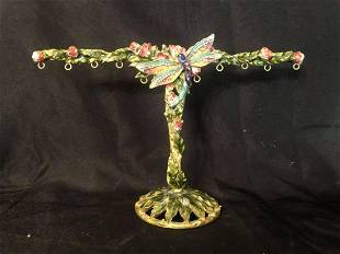 """DRAGONFLY CLOISONNE STYLE EARRING HOLDER (12""""X6"""")"""
