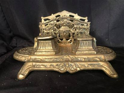 """LARGE HEAVY INKWELL BRASS WITH ENVELOPE HOLDER (12"""")"""