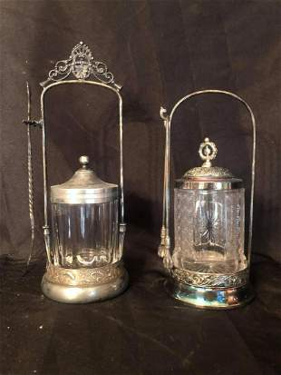 """PAIR OF ANTIQUE PICKLE STANDS (11"""")"""