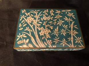 """CLOISONNE BOX WITH SERVING UTENSILS/MARKED NORWAY (6"""")"""