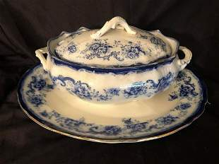 """FLOW BLUE CHINA TUREEN WITH PLATTER (18X14X7"""")"""