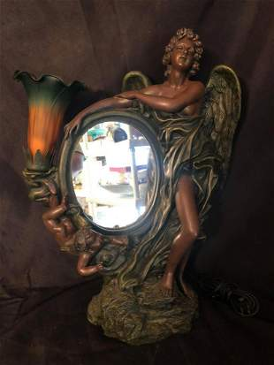 "HEAVY BRONZE STYLE MIRRORED FIGURAL LAMP (21"")"