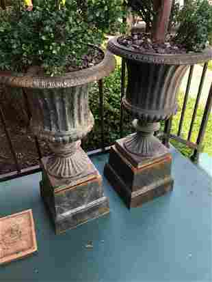 HEAVY CAST IRON URNS, APPROX 3' TALL