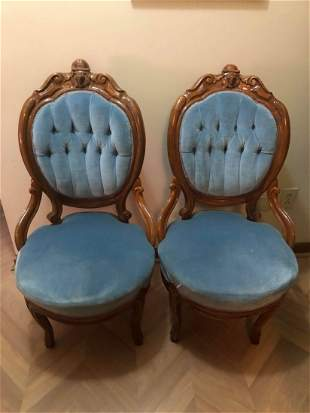 PAIR OF ANTIQUE VICTORIAN FIGURAL PARLOR CHAIRS