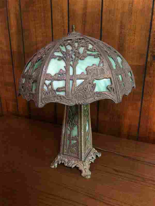 """ANTIQUE SLAG GLASS LAMP WITH LIGHTED BASE (21"""")"""
