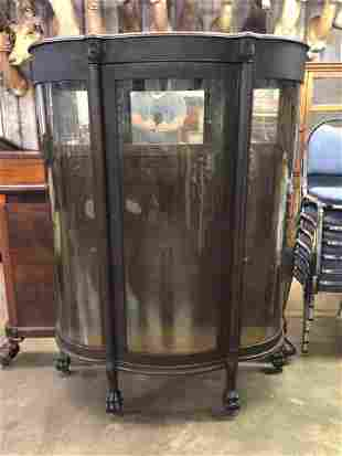ANTIQUE PAWFOOTED OAK CURIO CABINET