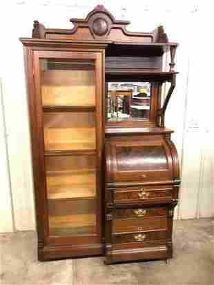 RARE VICTORIAN WALNUT CYLINDER SIDE BY SIDE BOOKCASE
