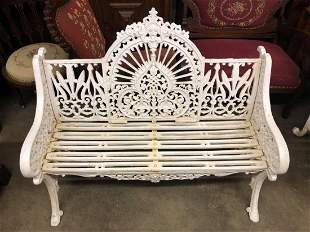 VICTORIAN STYLE WHITE CAST IRON BENCH