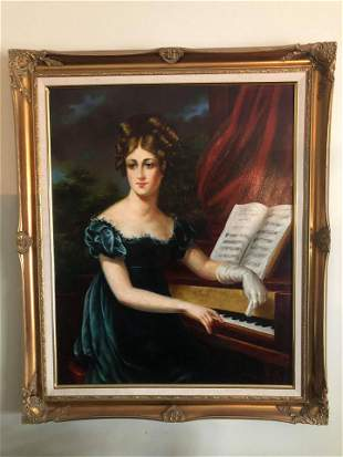 """OIL ON CANVAS PORTRAIT OF WOMAN AT THE PIANO (36X30"""")"""