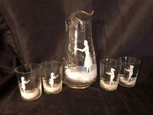 """MARY GREGORY STYLE PITCHER & CUPS (12"""")"""