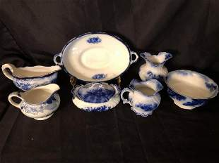 """COLLECTION OF PETITE FLOW BLUE CHINA (10"""" LARGEST)"""