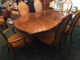 VINTAGE BERNHARDT CANE BACK DINING ROOM TABLE WITH 8