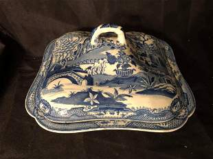 """BLUE WILLOW CA. 1830 COVERED DISH (6X3"""")"""