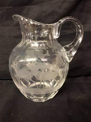 CRYSTAL PITCHER WITH RED DEER BULL & HIND