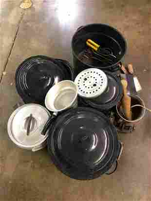COLLECTION OF GRANITEWARE, PRIMITIVE TOOLS & CANNING