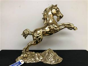 """Large Heavy Brass Horse Statue (24"""")"""