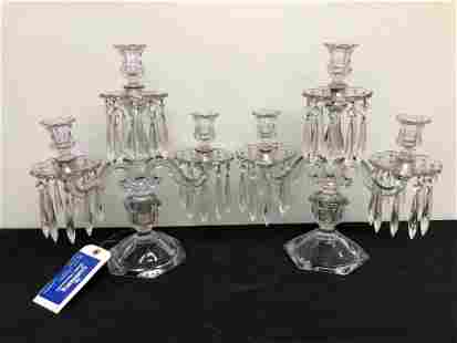 "Pair Of Antique Crystal Candelabras (15"")"