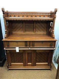 "American Victorian Walnut Sideboard (62""x48"")"
