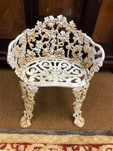 "Antique Cast Iron Grape Pattern Chair (24""x24"")"