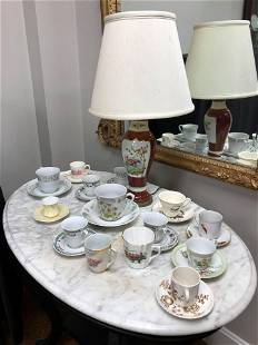 Collection Of Porcelain Saucers & Bird Scene Lamp