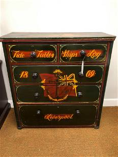 """1860's English Chest With Nautical Motif (45""""x42"""")"""
