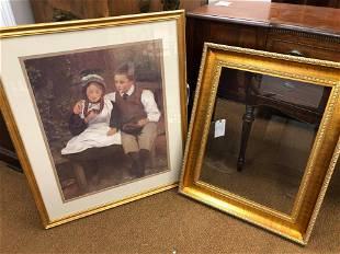 Large Framed Boy/Girl Print & Large Gold Frame