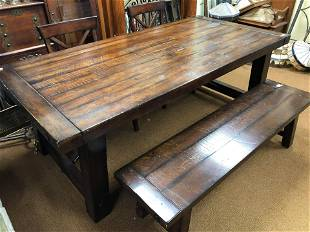 Industrial Style/Harvest Table With Bench & 2 Chairs &