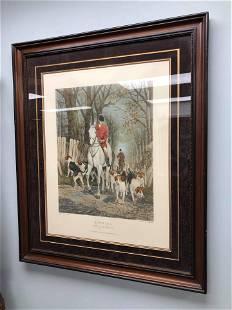 "Engraving Fox Hunting Scene (36"")"