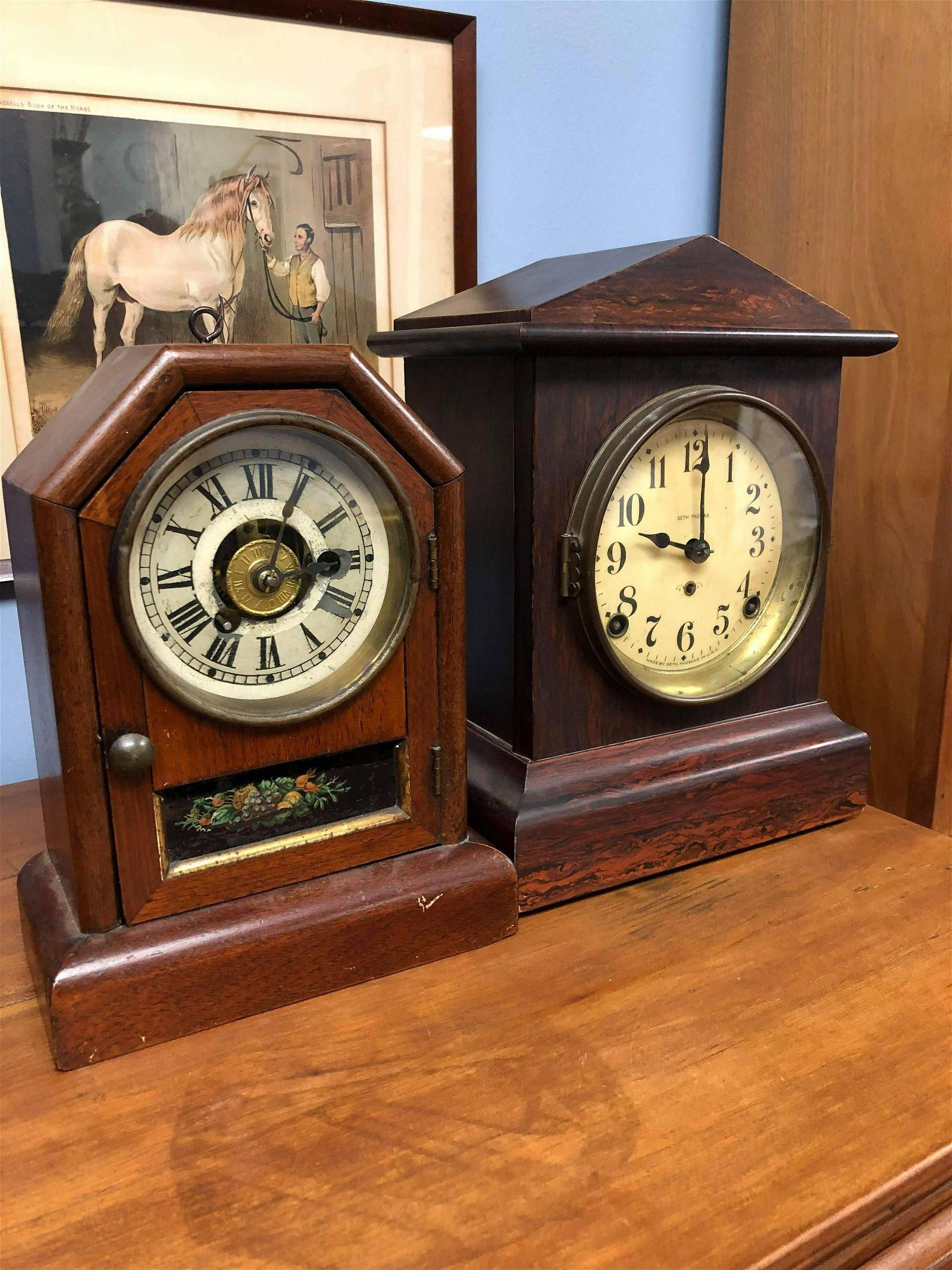 "Pair Of Seth Thomas Alarm Clocks (12"")"