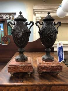 "Pair Of Victorian Bronze & Marble Urns (13"")"