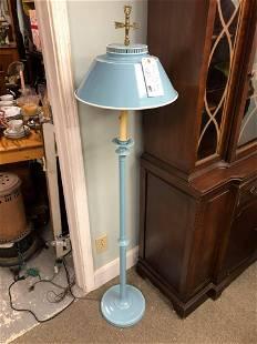 """Vintage Blue Tole Floor Lamp (54"""")"""