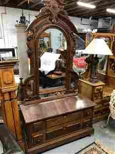 American Victorian Marbletop Vanity Dresser
