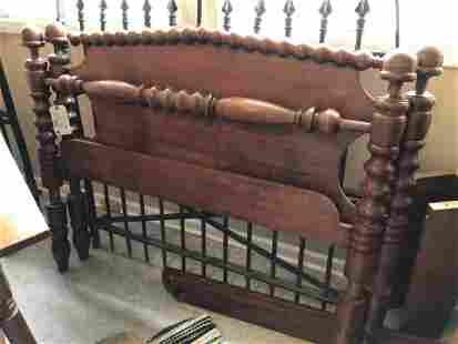"""Early American Tiger Curly Maple Rope Bed (54""""x42"""")"""