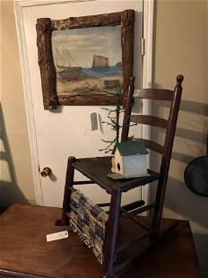 Rocking Chair With Birdhouse & Portrait