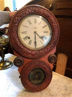 Antique Highly Carved Trademark Victorian Wall Clock