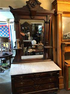 American Victorian Walnut Dresser and Mirror