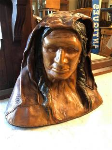 Native American Bust, made of Leather (18x22)