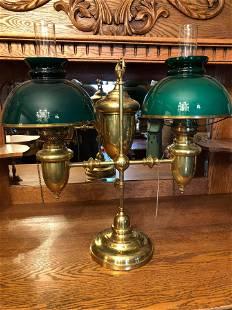 Duplex 1890s Brass Student Lamp Original with Green