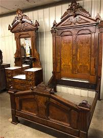 HIGHLY CARVED ANTIQUE VICTORIAN 2 PC. MARBLETOP BEDROOM