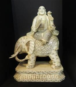 Hand Carved Bone Buddha Seated on Elephant