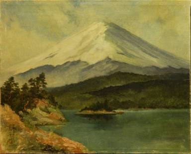 Oil Painting on linen of Mt. Fuji circa 1930s