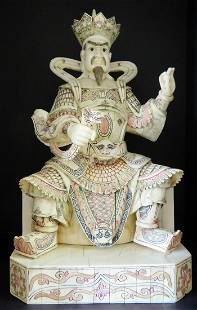 Hand Carved Bone Figurine of Emperor with Snake & Pearl