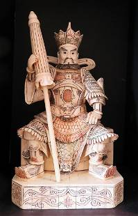 Hand Carved Bone Chinese Emperor with Parasol Figurine
