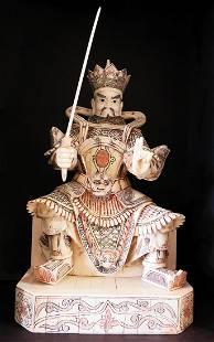 Hand Carved Bone Emperor with Sword Figurine