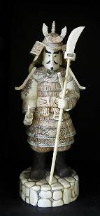 Hand Carved Warrior with Weapons Figurine 2